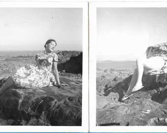 Whoops! Comical Fashion Pose Out-Take  - Two Vintage 1960s Black and White Photographs