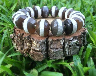 Large Striped Tibetan Agate Bracelet
