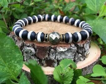 Men's Jeremy Bracelet- Black & White Striped Agate(8mm) - Pyrite - beaded bracelet-oliver grey jewelry- Denver collection-  guys accessories