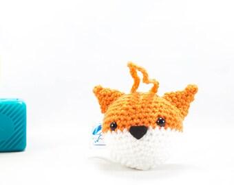 Crochet fox decoration, fox decoration, animal decoration, car buddy, amigurumi, stuffed fox