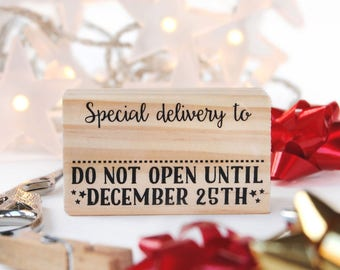 Do not open until Christmas, Special deliver stamp, Christmas stamp, Santa Stamp, christmas DIY, special delivery, christmas rubber stamp