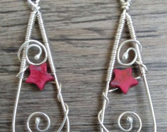 Teardrops with the stars Argentium Sterling Silver