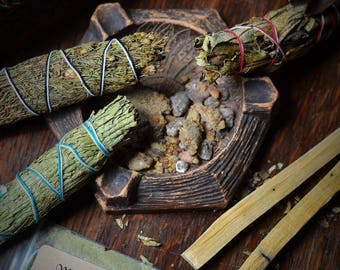 NATIVE TREE MAGICK, Piñon Pine, Palo Santo, Yerba Santa, Pine Resin, outdoor fireplaces, wicca, witch herbs, pagan altar, wiccan alter