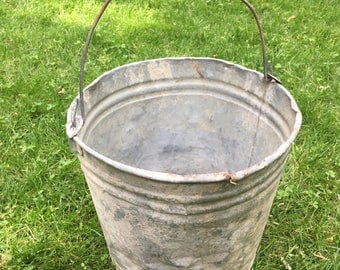 Old Vintage Dented Farmhouse Pail Rustic Country Decor Vintage Metal Bucket