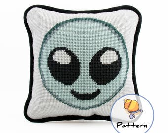 Emoji Alien Needlepoint or Cross Stitch Pattern, Instant Download Digital File, Modern Fun Stitching, Sci-Fi Pattern,Needlepoint Emoji Craft