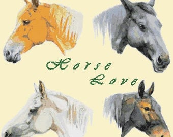 """horse Counted Cross Stitch watercolor Pattern chart point de croix needlepoint needlework -19.71"""" x 18.43"""" - L1505"""