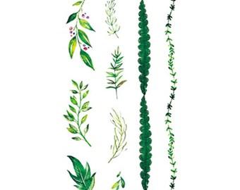 green leaf temporary tattoo