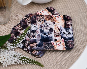 Set of 4 - Cat Collage Coasters - Handmade