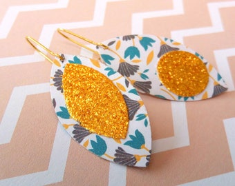 Stud Earrings geometric flowers folk glitter