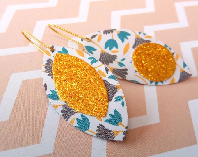 Stud Earrings geometric flowers folk glitter