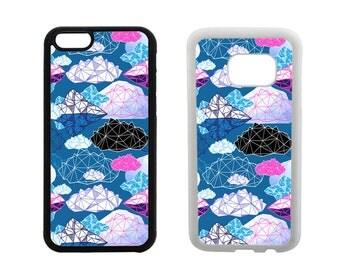Samsung Galaxy Rubber Case S8 Plus, S7 Edge, S6 Plus, S5 S4, iPhone 8 7 6 6S Plus, X SE 5C 5S 5 4S, Geometric clouds phone cover gift. R350