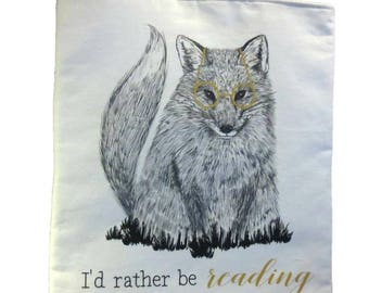 I'd Rather Be Reading Tote Bag, Fox Bag, Library Tote