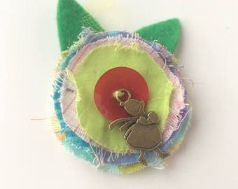 Kids green flower and red heart - textile brooch - hair jewelry hair clip