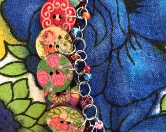 Button charm bracelet