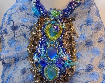 Blue beading and rhinestones (Venice) lace bib
