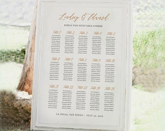 Wedding Seating Chart Template, Seating Plan, Rustic Seating Chart Poster, Editable in Word or Pages