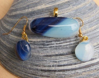 Whimsical Two Tone Blue Necklace and Earring Set