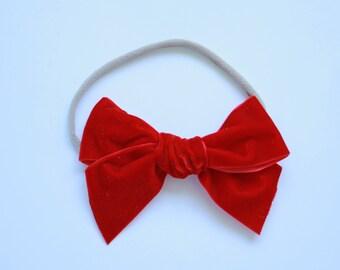 Big Willow Velvet Headband- RUBY RED
