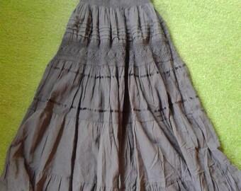 Gypsy Dress S Vintage Inspired Summer Strapless Grey Dress Juniors Hippie Dress Long Dress Lace Ribbon Crochet