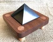 EMF, Shungite Pyramid, 2 Inch, Genuine Shungite, EMF Protection, Russian Shungite, Pyramid, WiFi Shield, Custom Wood Stand