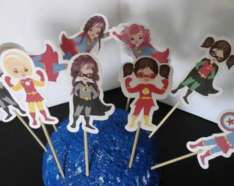 Superhero girls cake toppers..Superhero girls Cupcake Toppers... Set of 12... Choice of one side or two sided pick