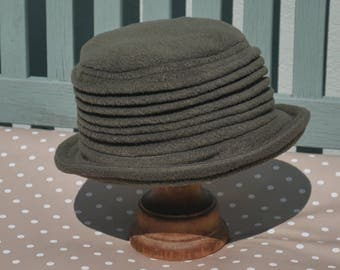 Olive khaki green fleece homegrown cloche hat