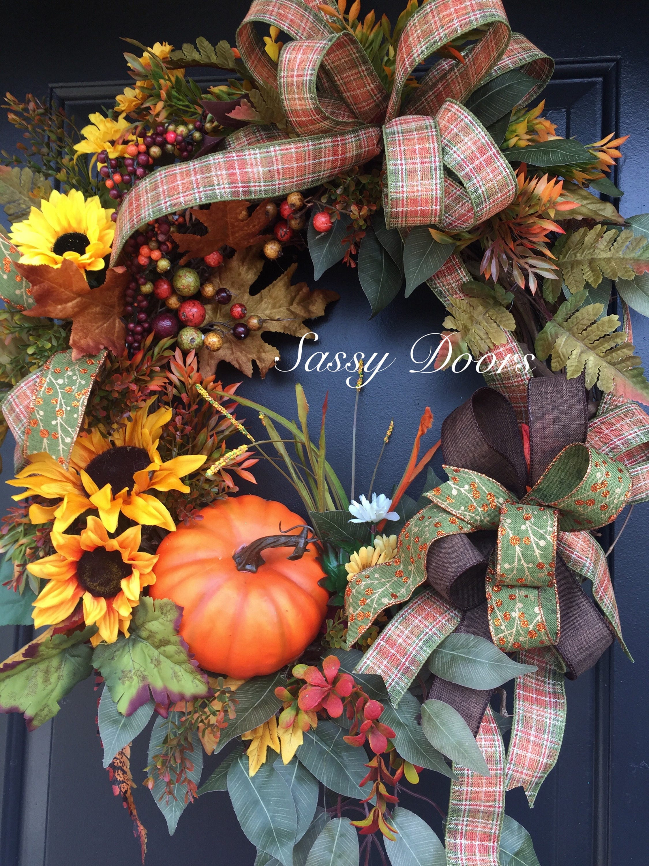 Fall Wreath Sunflower Wreath Pumpkin Wreath Fall Front Door