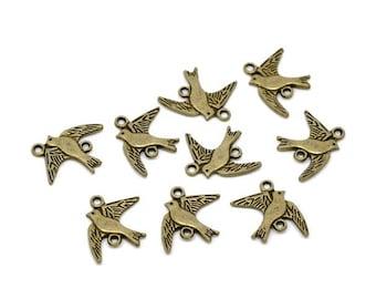 50 Bronze Pigeon bird connectors