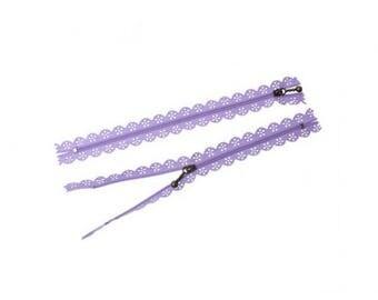 5 zipper 20cm colour Mauve lace