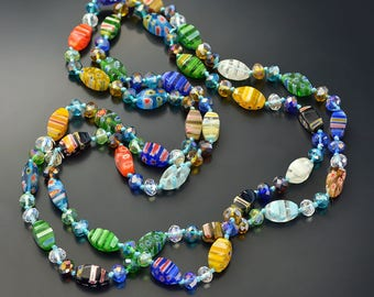 Long Millefiori Glass Necklace, Knotted Beads Necklace, Beaded Necklace, Millefiori Jewelry, Murano Glass, Rainbow Jewelry, Retro N1472