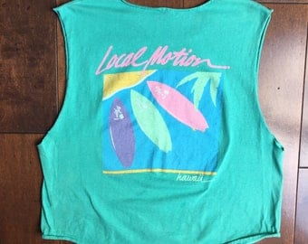 Vtg Local Motion Tank top Shirt mint pink electric graphic tee t vintage women's 80s 90s festival surf Hawaii palm tree muscle sale velvet