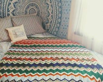 Vintage Crochet Afgan // Throw Blanket // Twin Bedding // Vintage Boho Decor
