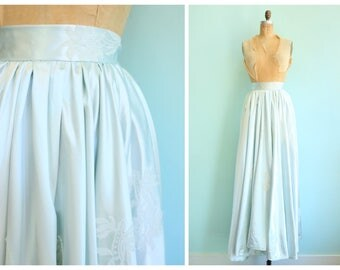 Vintage 1950s Icy Blue Satin and Lace Appliqué Bridal Wedding Skirt | Size Small