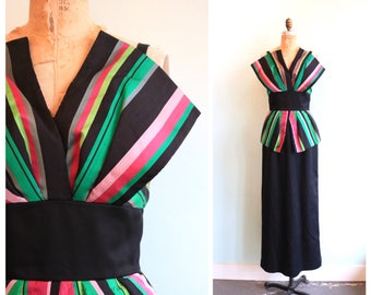 Vintage 1980's Victor Costa Striped Gown   Size Small