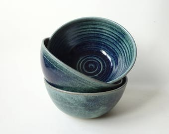 Small Bowl - 1 Blue green ceramic bowl - Handmade Ceramic - One Pottery bowl