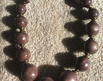 Wood - Brown Bead - Necklace