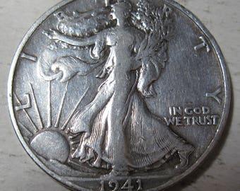 1941 S silver Walking Liberty half dollar coin grades VF (#E217i)
