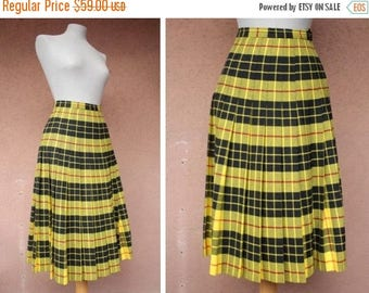 Summer Sale 1980's Plaid Yellow Skirt - Vivienne Westwood Style