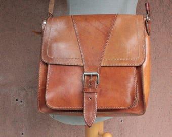 1970's Cognac Satchel Bag Leather Bag - 70's Messenger Bag
