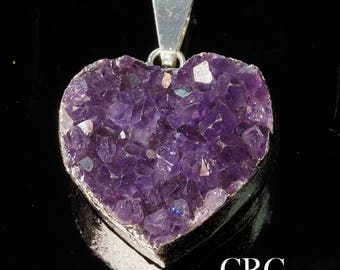 Silver Plated THICK Dark Amethyst Heart Cluster Pendant 15-20mm (DR53CN-B)