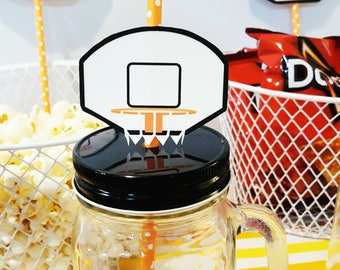 Basketball Birthday Party Straw Backboard - Party Straw Flags *INSTANT DOWNLOAD*