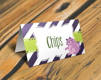 Kitten Food Tent Cards or Place Card. Kitten Baby Shower. *INSTANT DOWNLOAD*
