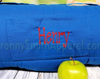 SUPERMAN Mat Roll With Pillow Blanket Attached Monogram Customize Personalize Preschool