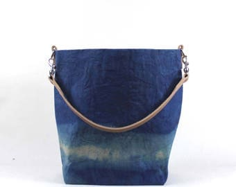Waxed Cotton Canvas Bucket Bag - Blue - Leather Strap