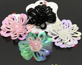 "5.5cm 2.16""  wide 15pcs black ivory pink  sequins beads flower foral clothes dress bag shoes appliques patch M43F65 free ship"