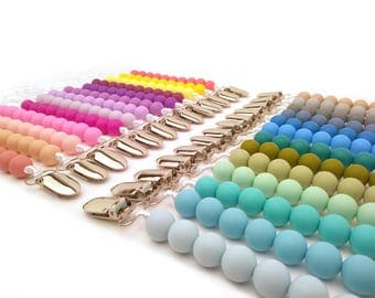 Pacifier Clip Baby Gift Baby Shower Gift Teething Baby Girl Clip Baby Boy Clip Teething Silicone Pacifier Holder Dummy Clip Binky Clip