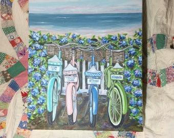 Ocean City, Fenwick Island, Bethany Beach and Rehoboth Beach Bikes original painting  16 x 20