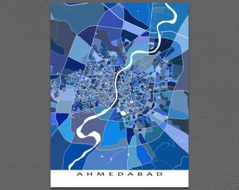 Ahmedabad Map Art Print, India, Blue City Street Poster