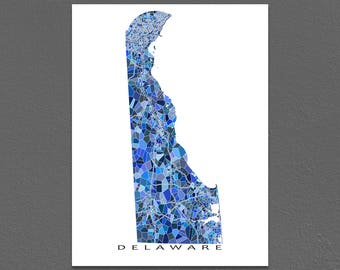 Delaware Map Print, Delaware State Art, DE Wall Decor