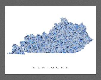 Kentucky Map Print, Kentucky State Art, KY Wall Artwork